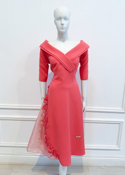 Coral bardot high low a-line dress with organza lace embroidered panel and elbow length sleeve