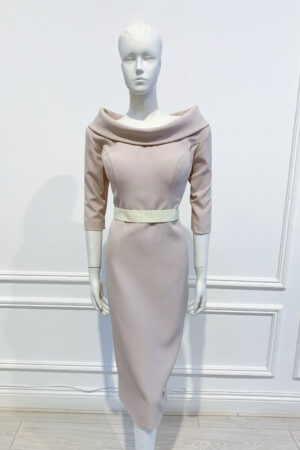 Taupe pencil dress with cowl boat neck, elbow length sleeve and contrasting cream waistband