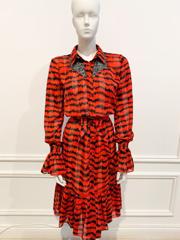 Phoenix_V Anxa Dress - Red and black printed shirtdress with ruffle hem and sleeves and black lace detailing