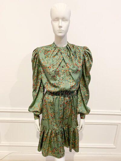 Eflora sage satin printed belted shirt dress
