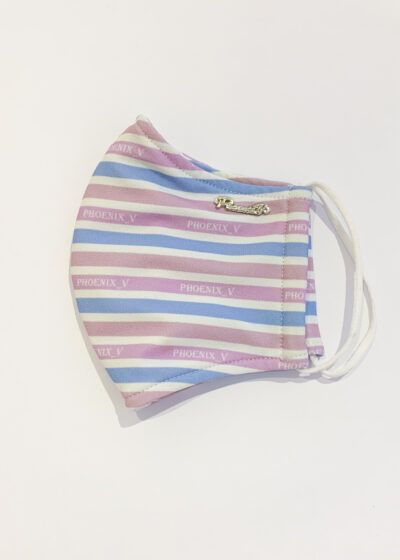 White, pale blue, lilac and mauve striped face covering with silver Phoenix_V branding