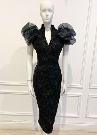 Black lace pencil dress with black organza puff sleeve and teardrop neckline