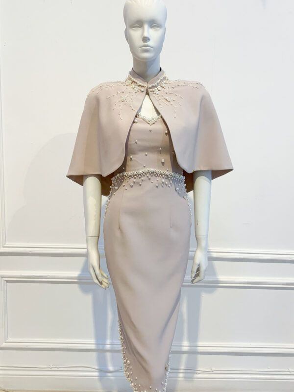 Taupe cape with intricate pearl beading
