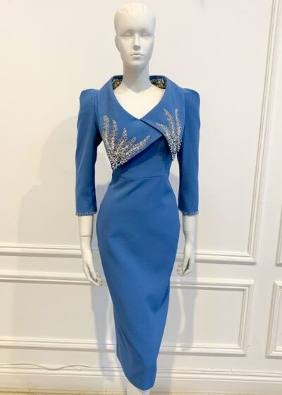 Cornflower blue pencil dress with three quarter length sleeve and silver beaded collar