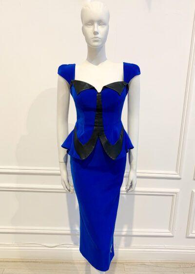 Blue peplum pencil dress with black leather detailing