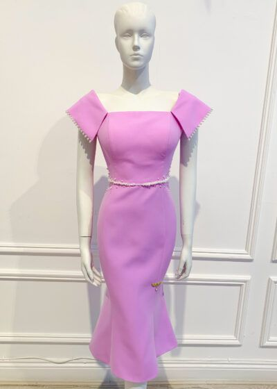 Pink lilac dipped fishtail dress with semi bardot neckline and pearl embellishment