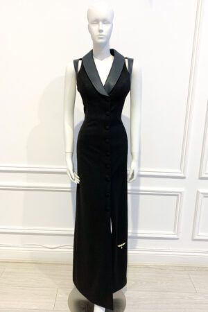 Black sleeveless tuxedo gown with buttons and leather cutout detail