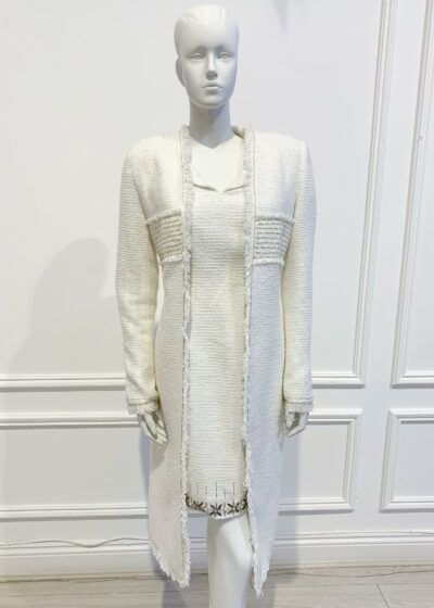 Ivory shimmer tweed straight fitting dress coat with silver beading