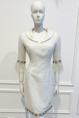 Ivory tweed mini shift dress with collar, jewel trim and feather cuffs