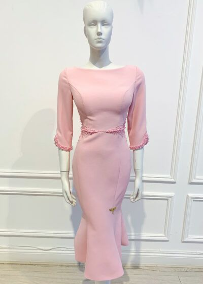 Pale pink fishtail dress with pink pearl beading at the waist and cuff