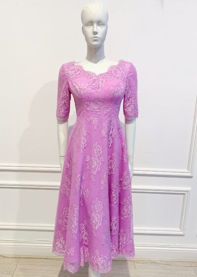 V-Neck lilac lace a-line dress with three quarter length sleeves