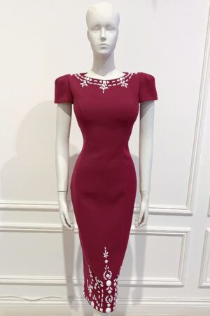 Raspberry cap sleeved pencil dress with white embellishment
