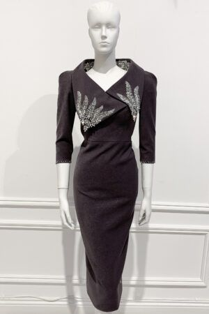 Charcoal Grey pencil dress with three quarter length sleeves and dramatic collar with silver beading