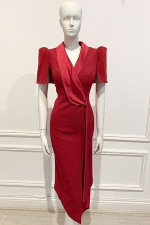Deep red tuxedo dress with satin sash, asymmetric hem and semi puff sleeves