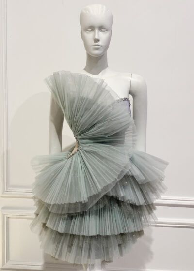 Silver organza ruffle strapless mini dress