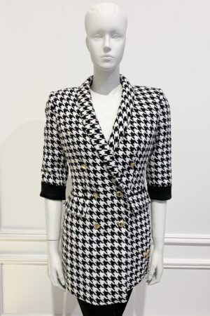 Houndstooth blazer with double breasted gold buttons