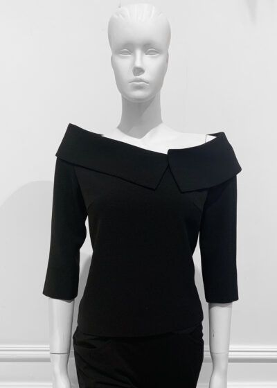 Black crepe bardot top with collar and three quarter length sleeve