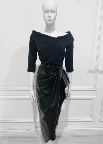 Leather-look midi skirt with gathered detail to one side