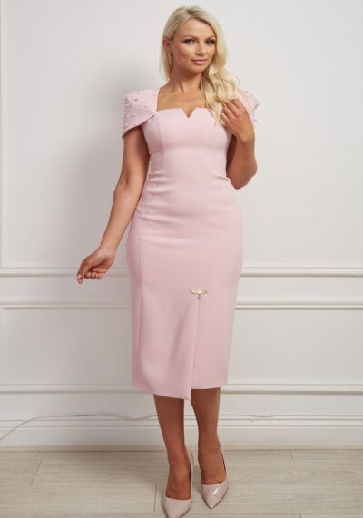 Pale pink pencil dress with pearl embellished cap sleeve and square neckline