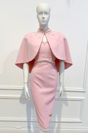 Pale pink empire waist pencil dress and cape with ivory pearl embellishment