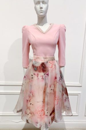 Pink pleated floral a-line skirt