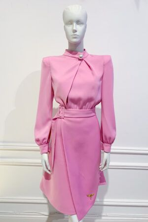 Bubblegum pink belted a-line dress with shirt-style top and large pearl button