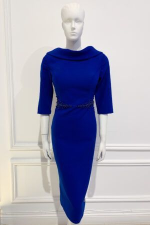 Cobalt blue cowl neck and back pencil dress with matching waist beading