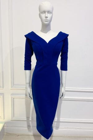 Cobalt blue oversized collar pencil dress with three quarter length sleeve
