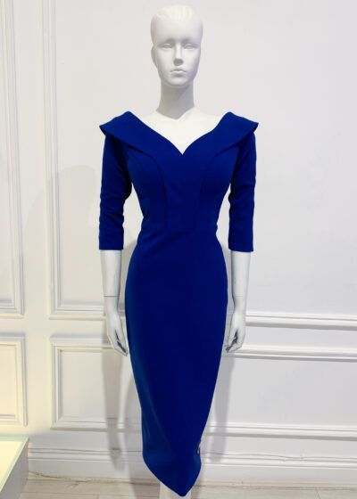 Cobalt blue oversized collar pencil dress with three quarter length sleeve