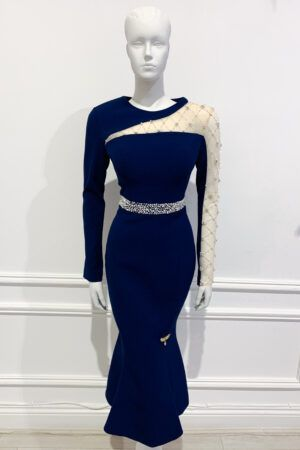 Navy long sleeved fishtail dress with mesh pearl embellished sleeve