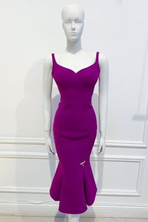 Magenta strappy sweetheart neckline fishtail dress