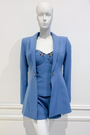 Cornflower blue short suit with blazer and jewel embellished bustier top