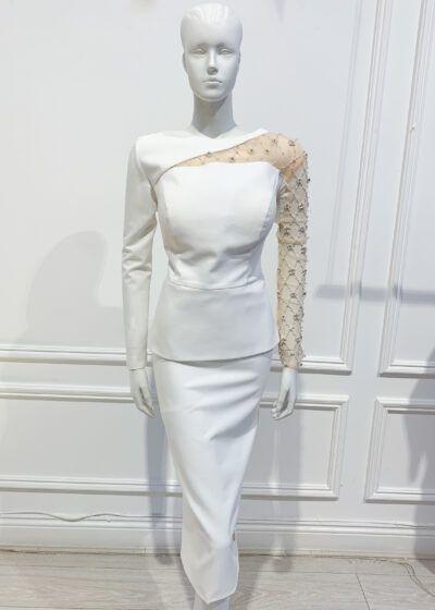 Ivory peplum pencil dress with mesh embellished sleeve