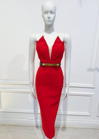 Strapless pencil dress with edgy pointed top detailing and belt