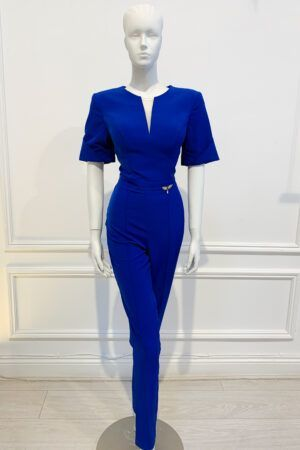 Cobalt blue skinny leg jumpsuit with wide sleeve and v mesh cutout in neckline