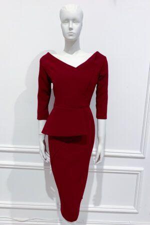 Burgundy asymmetric neckline half-peplum pencil dress