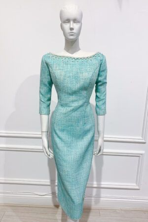 Mint tweed pencil dress with pearl embellished neckline
