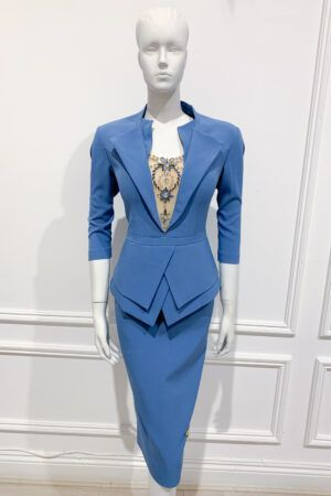 Cornflower blue double peplum pencil dress with collar and matching jewel mesh insert