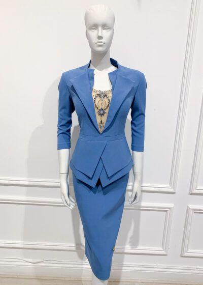 Cornflower blue double peplum pencil dress with collar and matching jewel mesh insert