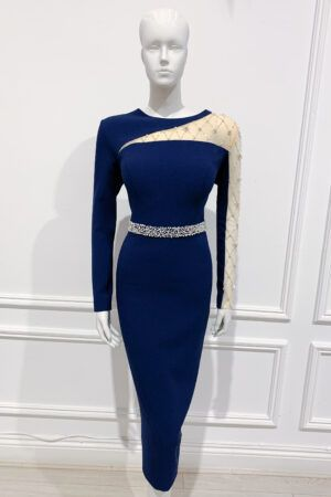 Navy pencil dress with mesh sleeve embellished with jewels and pearls and matching waistband
