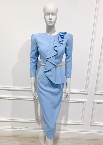 Baby blue pencil dress with ruffle, puff sleeve and ivory pearl waistband