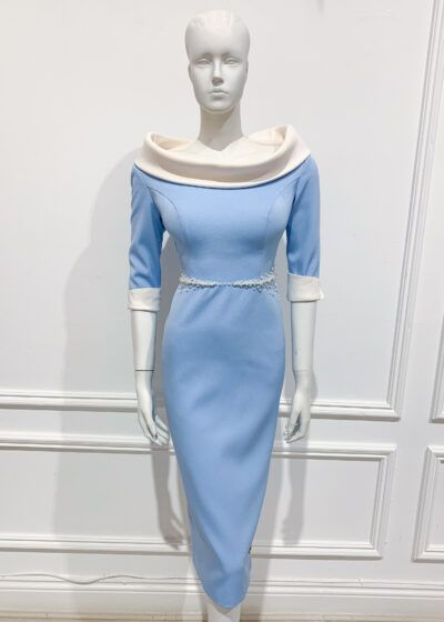 Baby blue pencil dress with ivory collar and cuff and ivory pearl beading