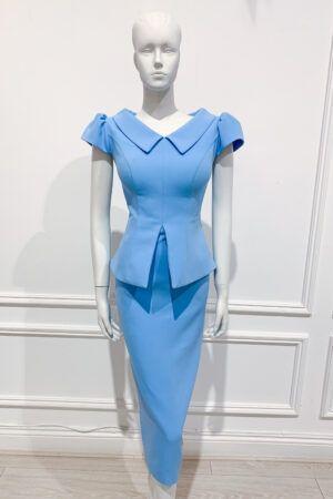 Blue collar peplum pencil dress with puff cap sleeve