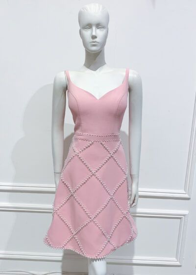 Baby pink sweetheart neckline with pearl beaded a-line skirt