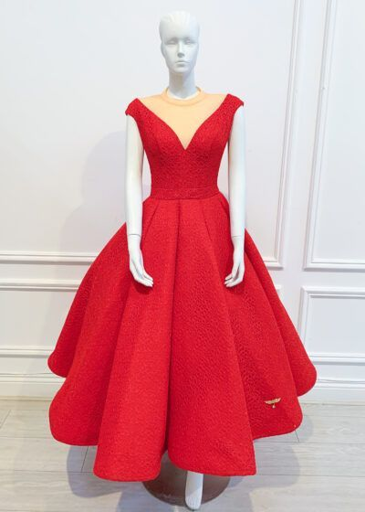 Red full skirt midi gown with mesh neckline and cap sleeve