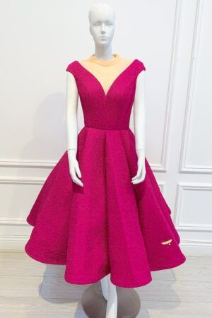 Cerise pink full skirt midi gown with mesh neckline and cap sleeves