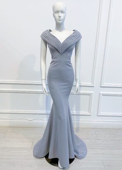 Grey full length fishtail gown with layered v-neck collar