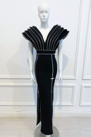 Black dramatic shoulder pencil gown with zip detailing