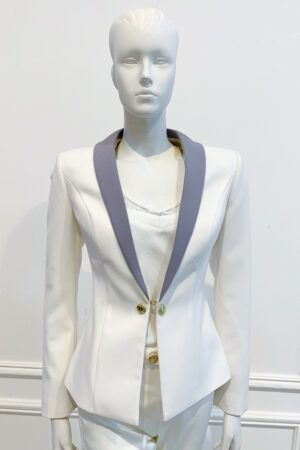 Ivory blazer with grey lapel