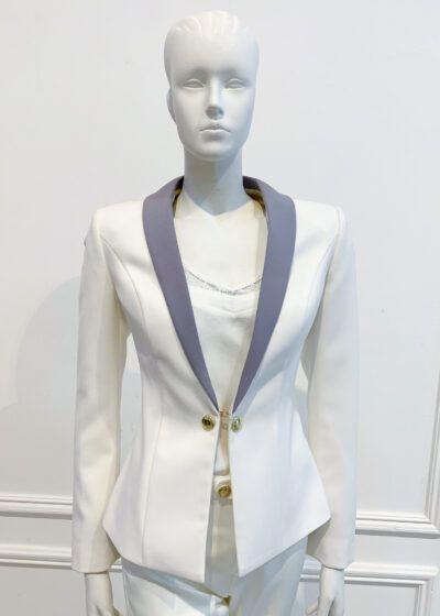 Ivory blazer with grey lapel